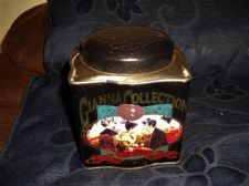COLLECTABLE EMPTY GIANNA TEA TIN + INNER LID SEAL ART NOUVEAU COLOUR PICTURES